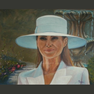 """Melania in white hat"" by artist Magdalena Luna"